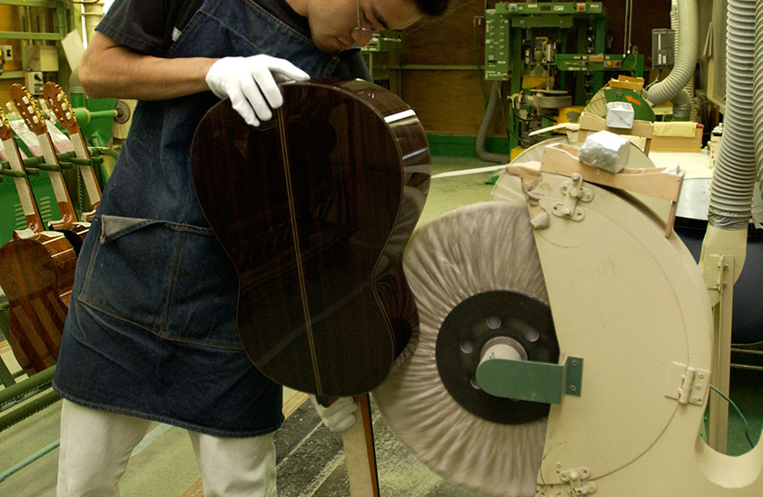 The instrument is polished during the buffing process