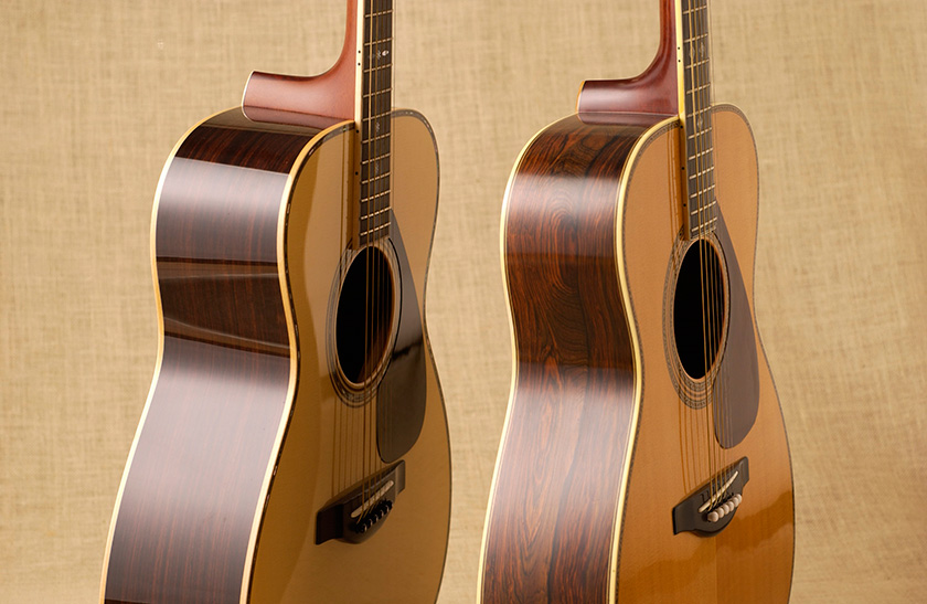 Left: A modern instrument; Right: An acoustic guitar from over 40 years ago