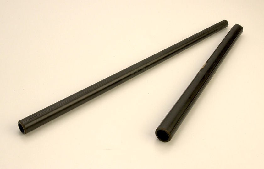 Ebonite inner pipes used in the tenor joint (left) and the double joint (right)