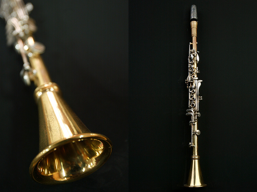 A metal clarinet-thinner than its wooden counterpart