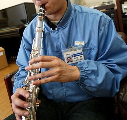 The transparent clarinet which goes a cloudy white when played.