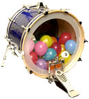 A bass drum with a balloon inserted.
