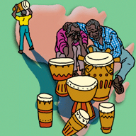 In Africa, drums were a