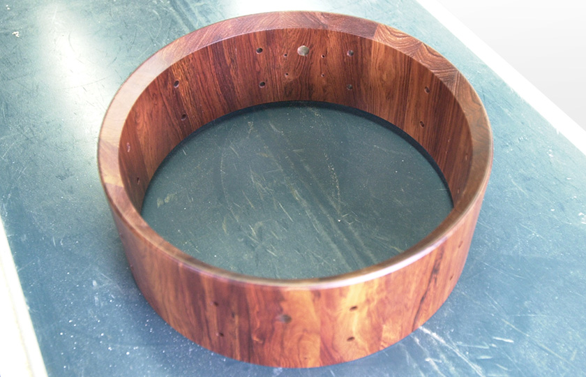 A rosewood snare drum
