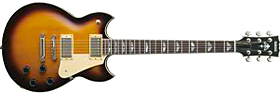 A solid-body guitar with three tuning keys on either side of the head