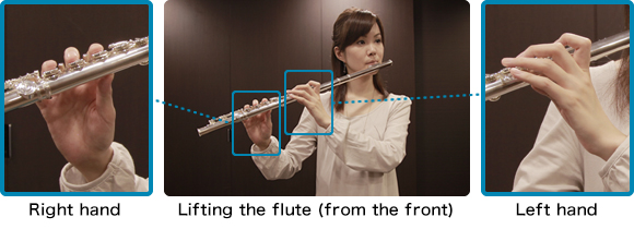 Lifting the flute (from the front)