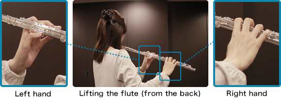 Lifting the flute (from the back)