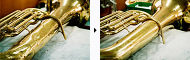 Before and after: a banged-up tuba