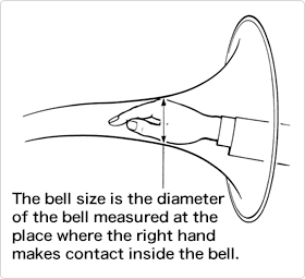The bell size is the diameter of the bell measured at the place where the right hand makes contact inside the bell.
