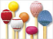 Mallets for the marimba, with various materials, degrees of hardness, and shapes