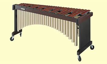 A marimba whose resonator pipes form an arch