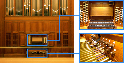 Parts of a pipe organ console