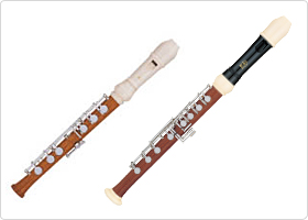 Soprano recorder and alto recorder made to be played with the left hand. Right-handed models are also available