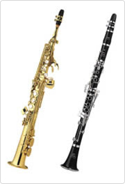A soprano saxophone (left) and a clarinet (right)