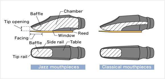 Cross-section of mouthpieces