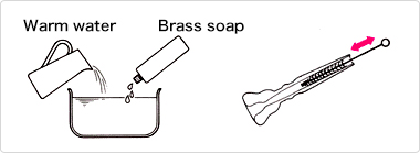 Make up a solution of brass soap
