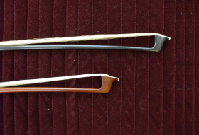 Carbon bow (top) and wooden bow (bottom)