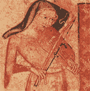 A woman playing a fiddle