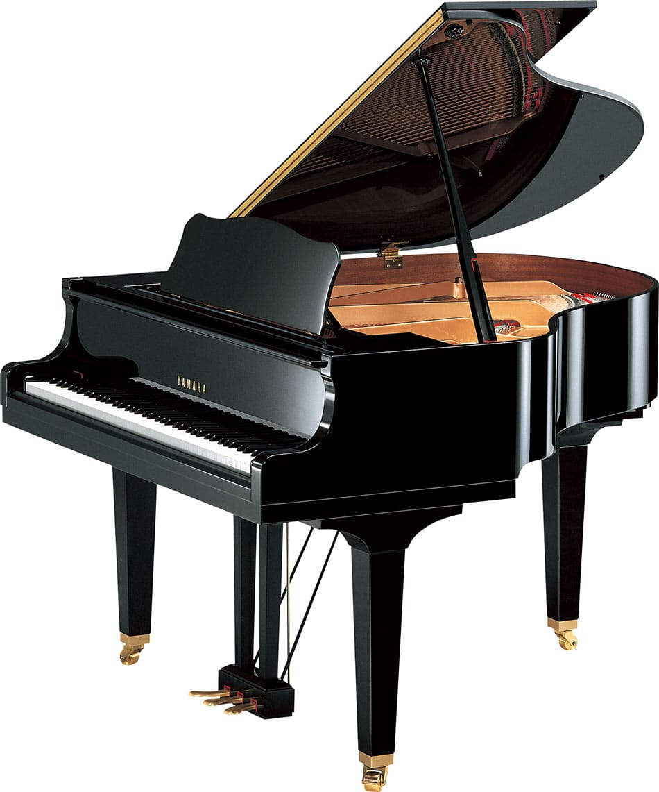 Yamaha baby grand piano with lid open viewed from right side.