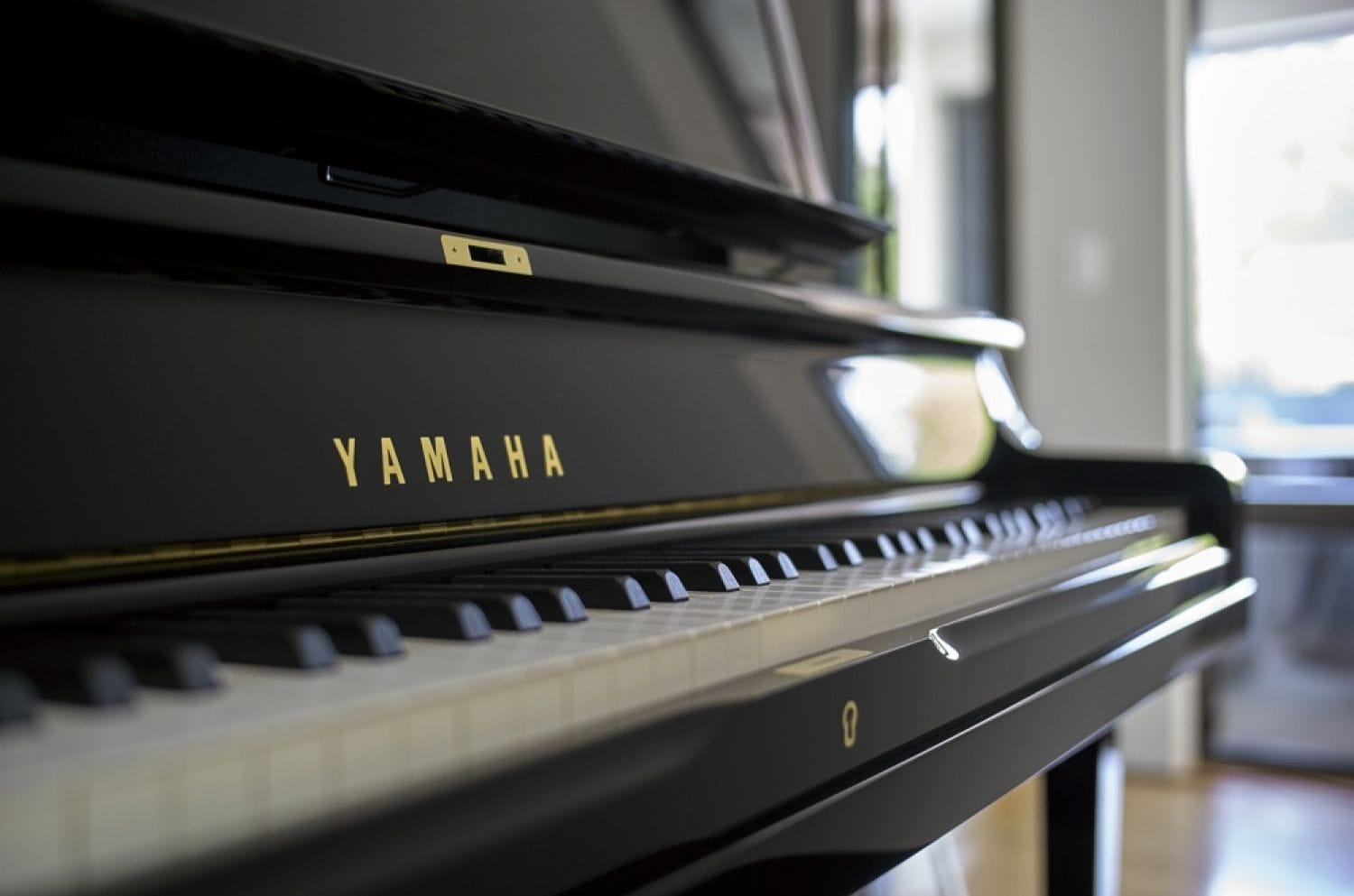 Closeup of Yamaha upright's keys.
