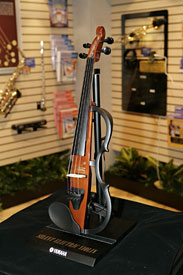 Silent Electric violin on pedestal