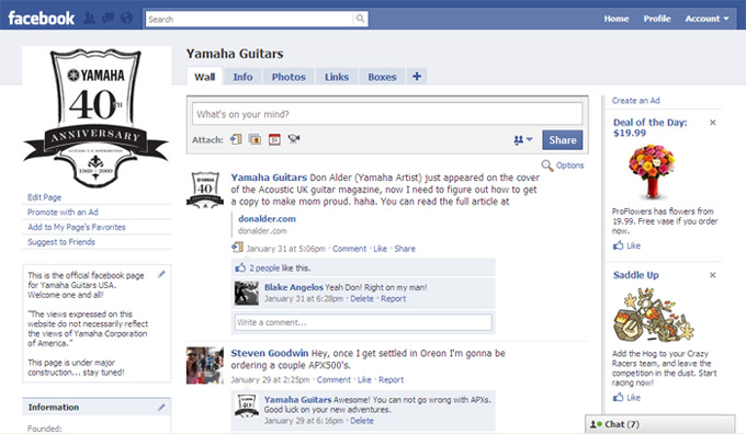Yamah Guitars Facebook Page