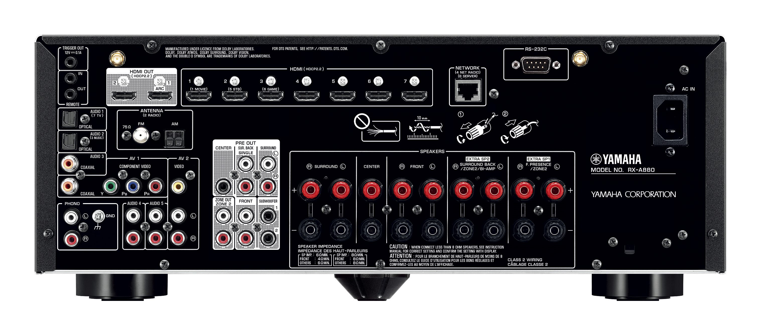 RX-A880 - Specs - AV Receivers - Audio & Visual - Products
