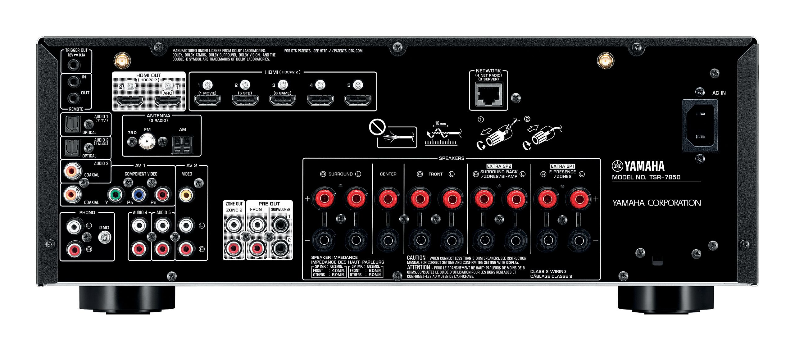 hdmi surround sound wiring diagram tsr 7850 overview av receivers audio   visual products  tsr 7850 overview av receivers